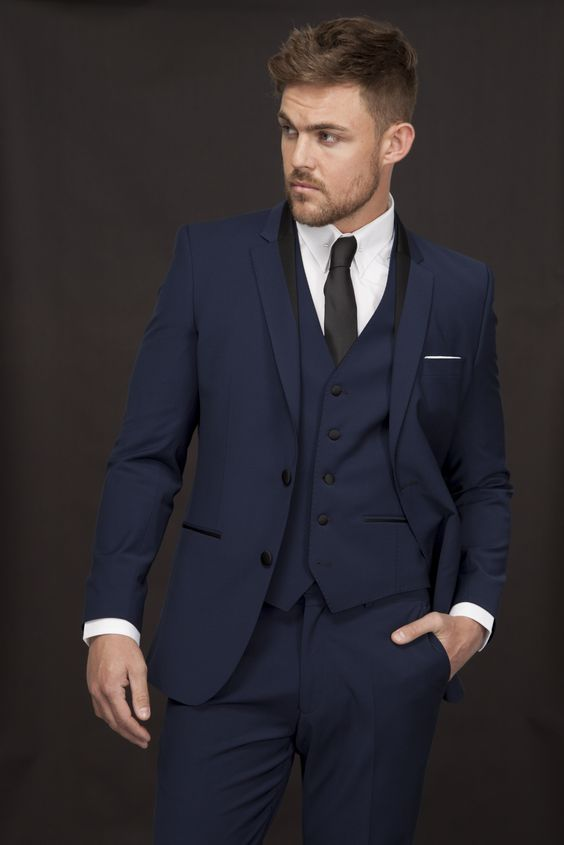 Santinelli Navy Tuxedo with Black satin trim from Slaters #suit