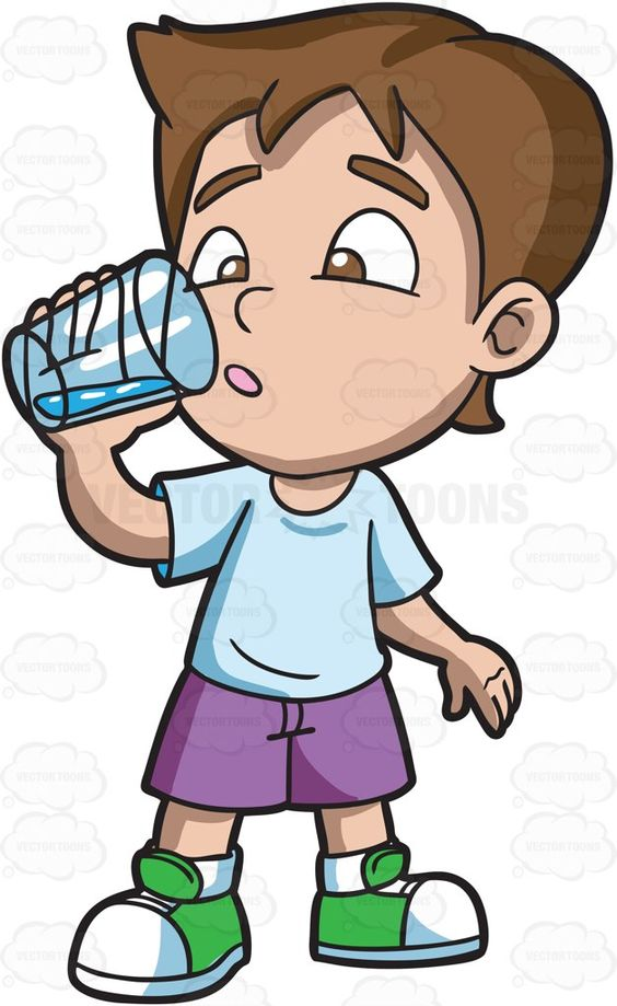 A boy looking curious at the water that he is drinking #cartoon #clipart #vector #vectortoons #stockimage #stockart #art