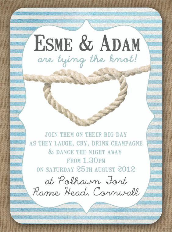 Knots and anchors nautical seaside sailing beach theme for The knot wedding invitation language