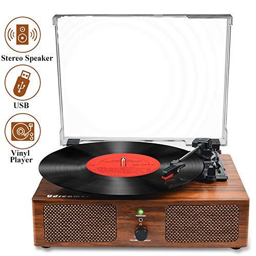 Vinyl Record Player Bluetooth Turntable With Built In Speakers And Usb Belt Driven Vintage Phon In 2020 Phonograph Record Player Phonograph Record Vinyl Record Player