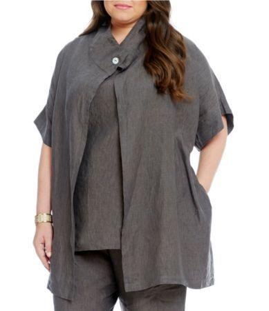 Bryn Walker Plus Gwinn Short Sleeve Linen Vest #Dillards