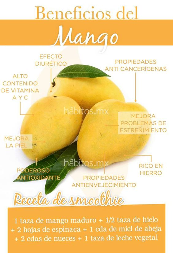 Beneficios del mango. Smoothie de mango. #hábitosmx #health #salud  #Nutrición y #Salud YG > nutricionysaludyg.com: