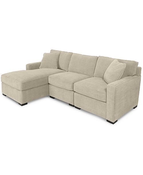 Radley 3 Piece Fabric Chaise Sectional Sofa Created For Macy S Heavenly Caramel Tan In 2020 Sectional Sofa With Chaise Sectional Sofa Custom Sofa