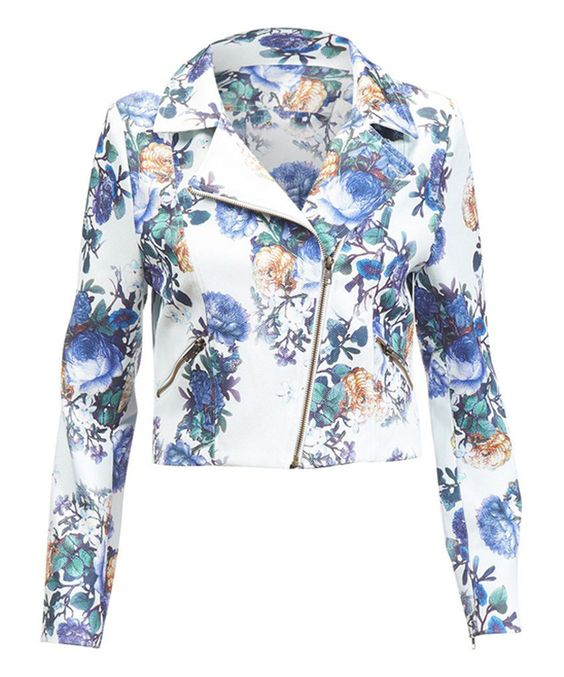 Darling Cornflower Floral Gabrielle Moto Jacket by Darling #zulily #zulilyfinds