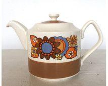 Vintage 60er Jahre 70er Jahre Flower-Power Sadler Teapot psychedelisches Geschirr Kitchenalia Küche Zubehör Kitsch Retro-Mod Hippie Dekor 1960s 1970s