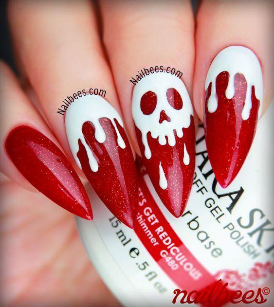 41 Cute And Creepy Halloween Nail Designs 2020 Bling Wedding Nails Halloween Nail Designs Stiletto Nail Art