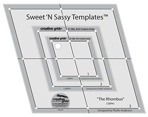 Cut three different sizes of rhombus shapes with this set - slip template