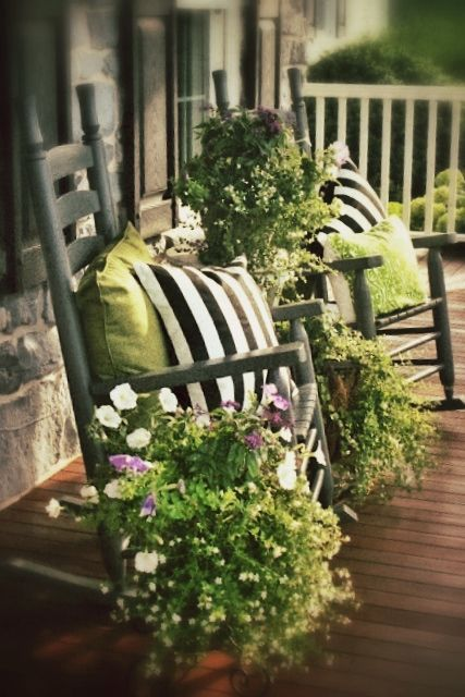Front Porch Flowers Green Pillows Flower And Rockers