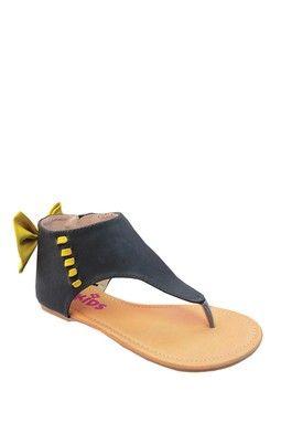 Yoki Kids Contrast Bow Sandal