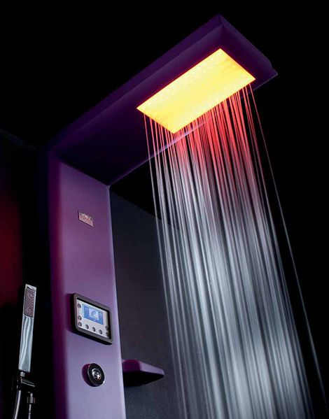 Thermostatic Shower Column with Hydrotherapy  Chroma Therapy  amp  Radio    Bathroom Ideas   Pinterest   Radios  Bathing and Home. Thermostatic Shower Column with Hydrotherapy  Chroma Therapy