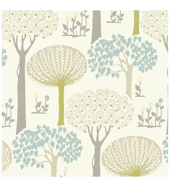Papel pintado arboles con hojas azules y verdes estilo for Papel pintado hojas verdes