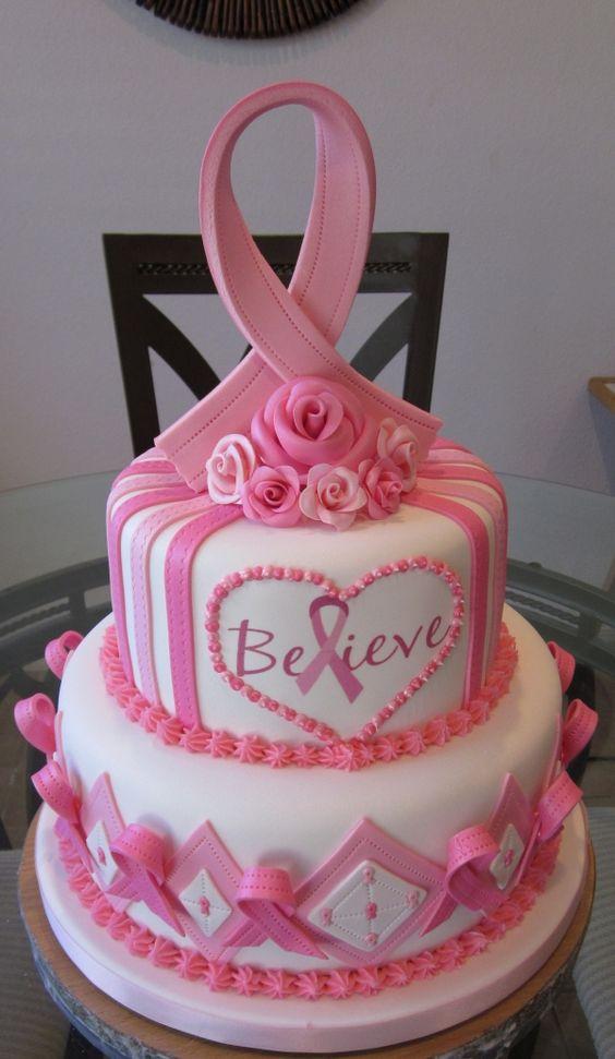 Pink ribbon cake