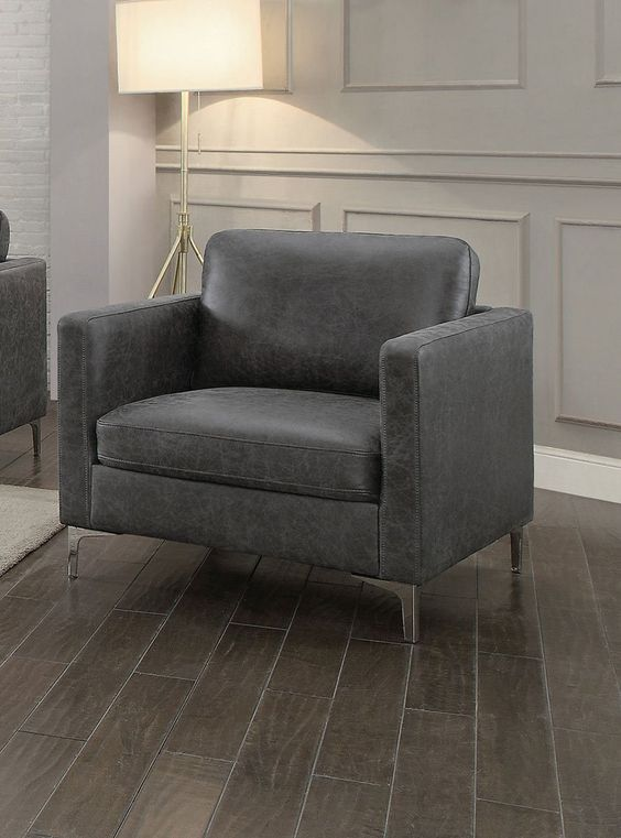 Wood & Polyester Sofa Armchair with Chrome Legs, Gray