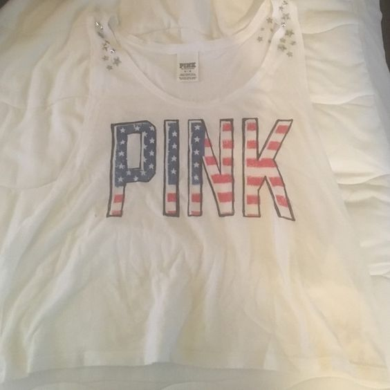 Pink tank top Great for holidays such as Memorial Day or 4th of July. PINK Victoria's Secret Tops Tank Tops