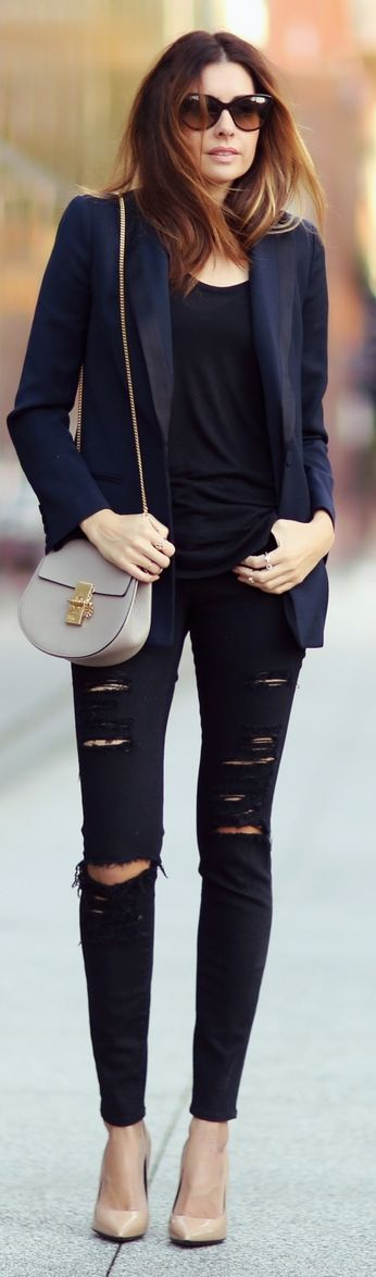 Navy Easy Chic Tux Blazer and torn jeans