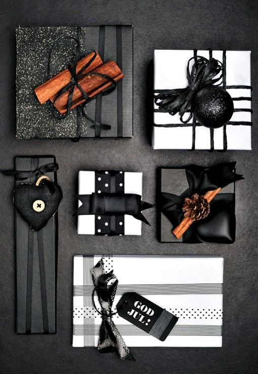 Beautiful Christmas gift wrapping ideas ToniK ⓦⓡⓐⓟ ⓘⓣ ⓤⓟ DIY black & white elegant Leuke Lintjes design