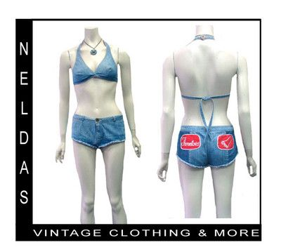 Vintage 70s Hip Hugger Daisy Duke Jean Shorts Halter Top   eBay