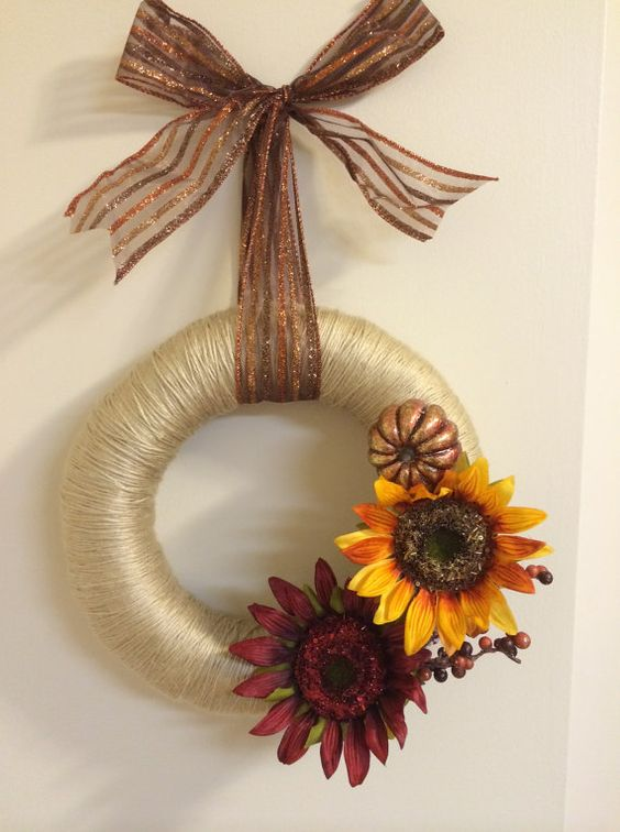 Sunflower & Pumpkin  Yarn Wrapped Late by EastCoastDoorDecor, $37.00 #fall #wreath #autumn #etsy