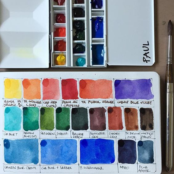 Setting up my new travel friendly watercolour palette. This metal box is much lighter than my brass box and allows me to also try out new unusual colours from Daniel Smith. Latest favourites are Pienontite and Garnet Genuine from DS's Primatek range. #danielsmithwatercolors #arters #watercolor #paint #palettes