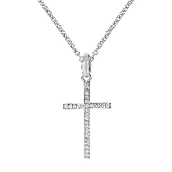 "Primrose Sterling Silver Cubic Zirconia Cross Pendant Necklace, Women's, Size: 18"", Grey"