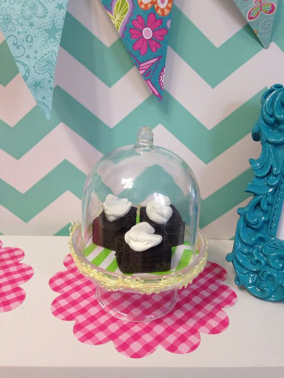 3 brownies with clear cake stand with inside by QueenEmmaDesigns