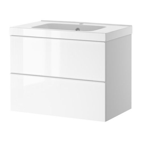 godmorgon odensvik sink cabinet with 2 drawers white high gloss white vanities cabinets. Black Bedroom Furniture Sets. Home Design Ideas