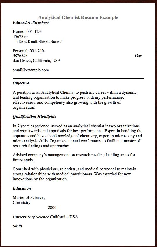 Here Is Analytical Chemist Resume You Can Check the Preview here - master electrician resume