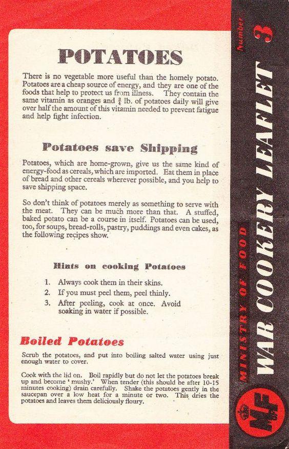 Wartime potato recipes.