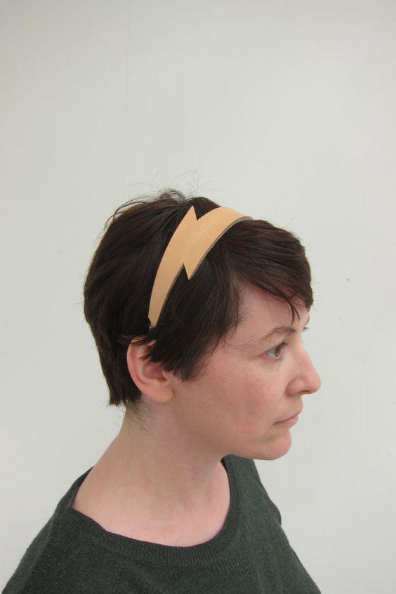 Handmade leather lighting flash headband.