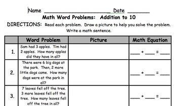 1st grade math word problems addition to 10 1st grade math math words and words. Black Bedroom Furniture Sets. Home Design Ideas