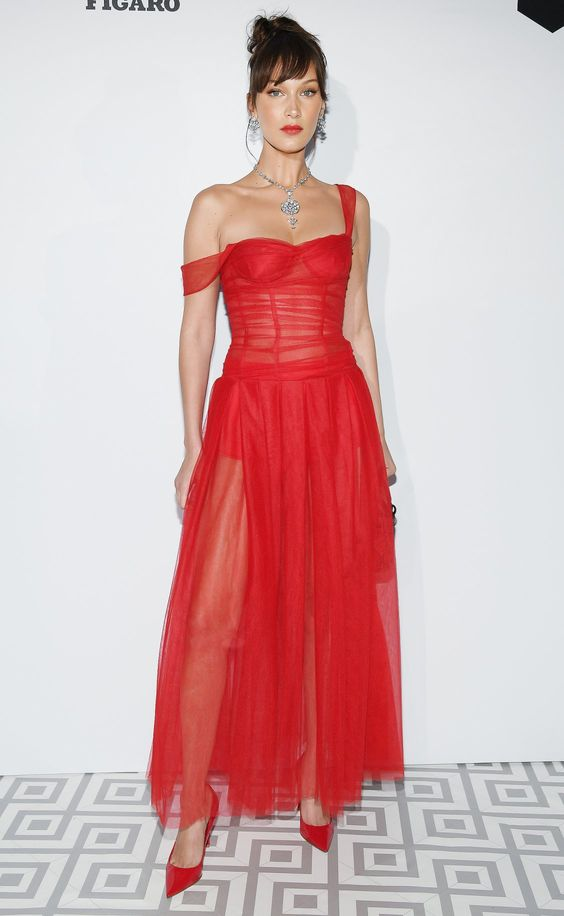 Bella Hadid in a red tulle Dior dress