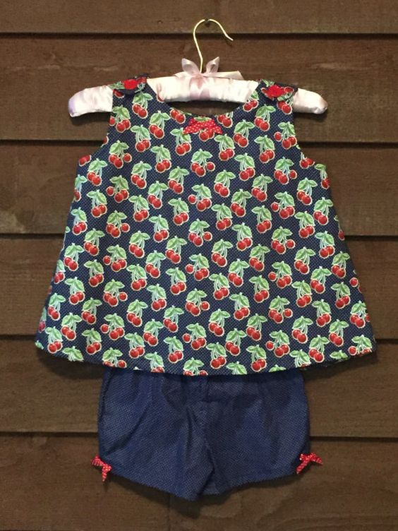 Girls Cherry Outfit with matching shorts by SimplyStitchedbyMKM
