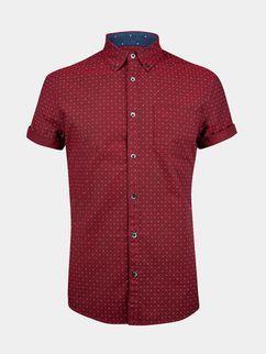 Short Sleeve Red Oxford Print Shirt