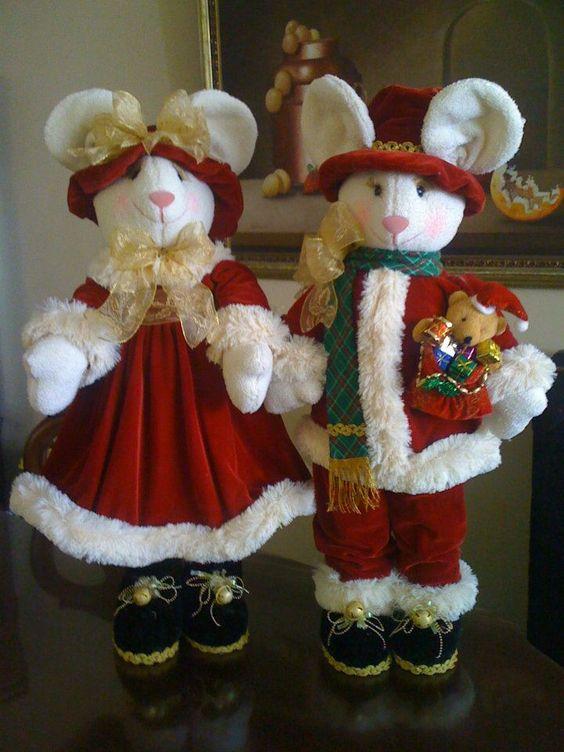 Decoraci n con mu ecos navide os ratones y molde for Pinterest decoracion navidad