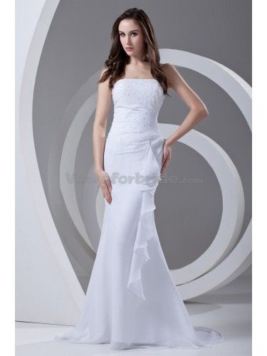 Chiffon Strapless Sweep Train Mermaid Prom Dress with Beading