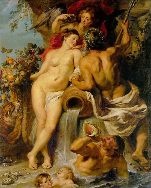 The Union of Earth and Water, Peter Paul Rubens.  Rubens created very grandiose works of art, and was perhaps the most successful and famous Baroque painters of his time, painting for kings and emperors of several countries as well as the Church all throughout Europe. This is one of Rubens' more mythical paintings (probably not commissioned by the Church) entitled The Union of Earth and Water. www.goachi.com
