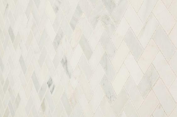 "Marble Mosaic - Carrara Marble Series - Arabescato Herring Bone / 1""x2"" / Honed"