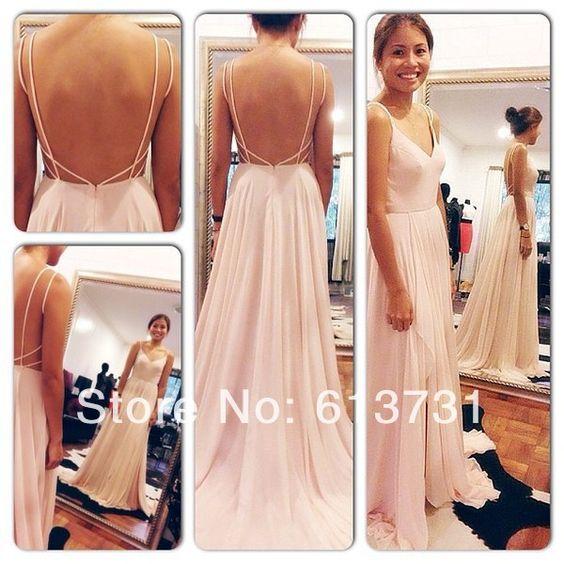 X back long dress chiffon