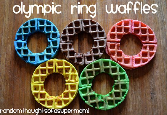 """""""Olympic"""" Waffles...I ended up doing this with pancakes, but same idea."""
