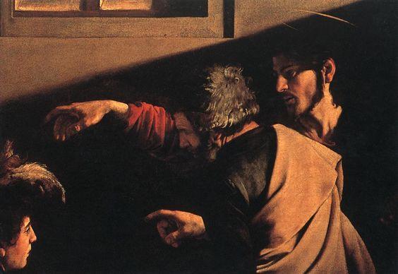 Caravaggio, compare with hand of god of  Miguel Ángel. Creación de Adán (1510), Capilla Sixtina (Roma): Detail 1599, Detail 1600, Matthew Detail, 1600 San, Arte Caravaggio, Two Hundred