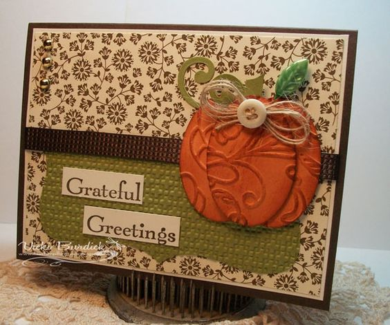 Stampin' Up! Oval Punches to make a pumpkin.  Also, use Stampin' Up! Big Shot Embossing folders