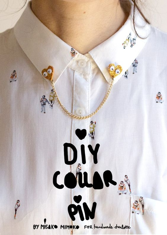 Accessorize your blouse with this simple and glittery heart-shaped collar pin!