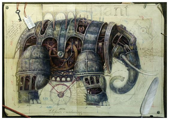(some very beautiful drawings by Vladimir Gvozdariki from his website of machine animals that seem to come out from some Industrial utopian world.): Elephant Vladimir, Elephants Camels, Steampunk Mechanical Art, Art Mechanicals, Art Journals, Mechanical Illustrations, Elephants Proboscidea
