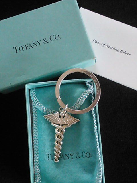 Tiffany Amp Co Sterling Silver Caduceus Key Ring Chain
