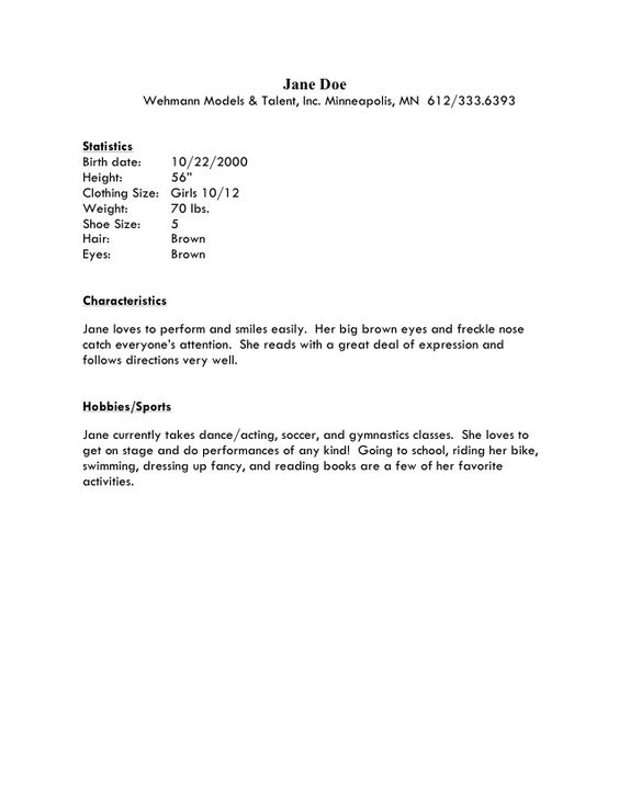 child actor sample resume