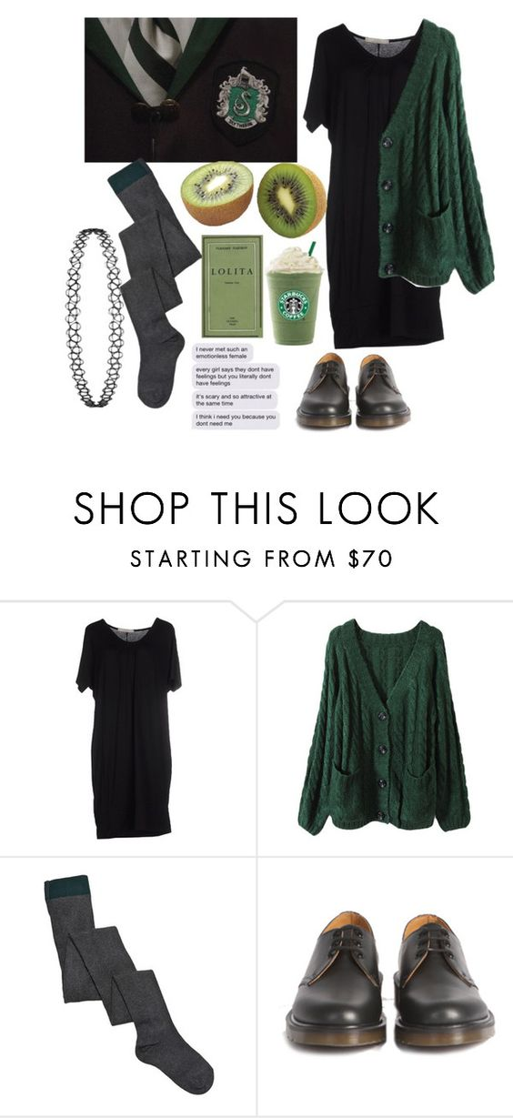 """""""Slytherin"""" by annahcat ❤ liked on Polyvore featuring 1980, Marni, Dr. Martens, women's clothing, women, female, woman, misses, juniors and harrypotter"""