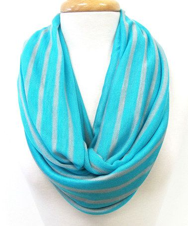 Another great find on #zulily! Teal & Gray Jolt of Stripe Infinity Scarf by Veond #zulilyfinds