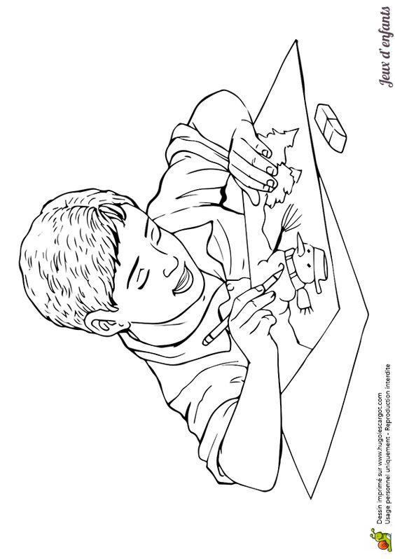 Un petit gar on entrain dessiner un bonhomme de neige un - Coloriage enfant garcon ...