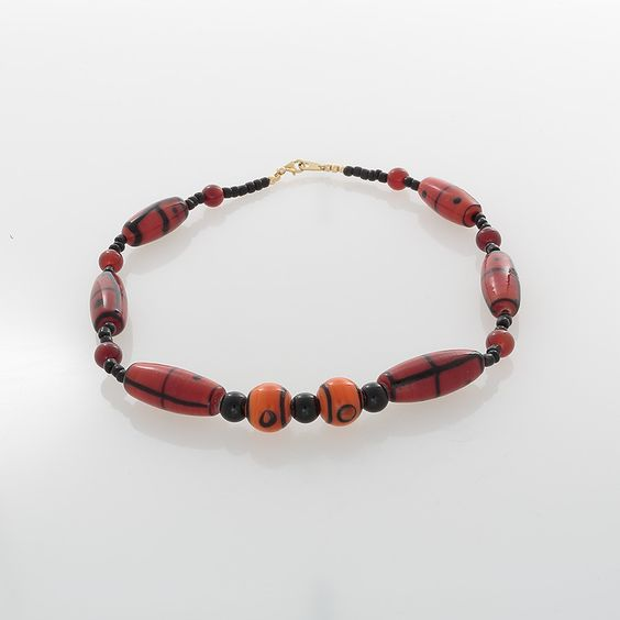 African Orange & Black Glass with Carnelian Beaded necklace