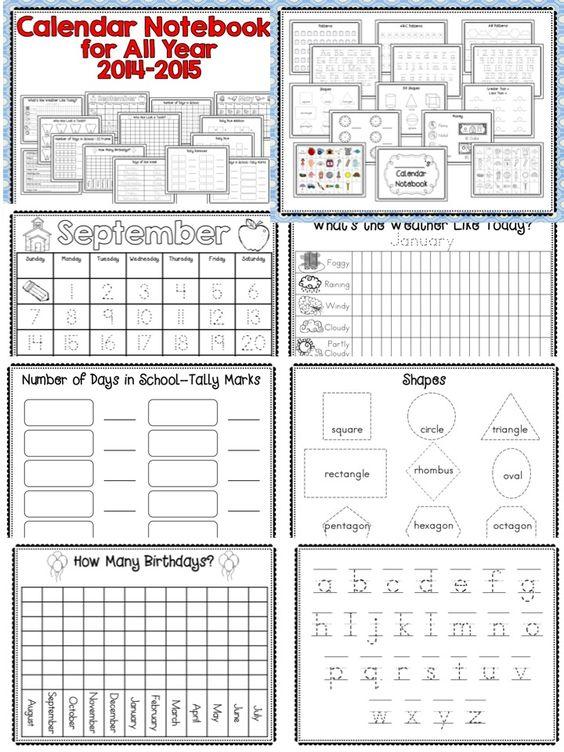 Calendar Notebook 2015 : Morning calendar interactive learning and